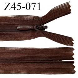 Fermeture zip 45 cm couleur chocolat non séparable avec glissière nylon largeur 2.5 cm prix à l'unité