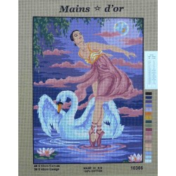canevas 40x50 marque MAINS D'OR danseuse cygne dimension 40 centimètres par 50 centimètres 100 % coton