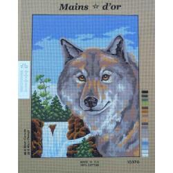 canevas 40x50 marque MAINS D'OR chien husky dimension 40 centimètres par 50 centimètres 100 % coton