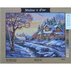 canevas 40x50 marque MAINS D'OR chalet neige dimension 40 centimètres par 50 centimètres 100 % coton