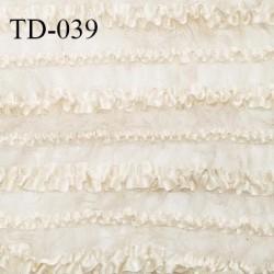 Déstockage Tissu dentelle 30 cm extensible bandes satin couleur chantilly sur tulle largeur 30 cm prix pour 10 cm de longueur