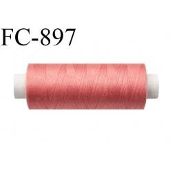 Bobine 500 m fil Polyester n° 120  rose saumon foncé 500 mètres fil européen bobiné en Europe ou France certifié oeko tex