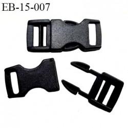 boucle clip en plastique noir haut de gamme passage pour une sangle de 15 mm longueur total 52 mm largeur 22 mm