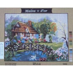 canevas 40x50 marque MAINS D'OR campagne dimension 40 centimètres par 50 centimètres 100 % coton