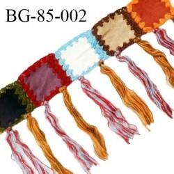 Galon 85 mm laine multicolore largeur 8.5 cm avec franges de 18 cm prix au mètre