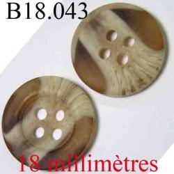bouton 18 mm couleur marron et beige clair marbré 4 trous diamètre 18 mm
