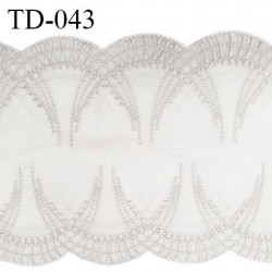 Dentelle 230 mm brodée sur tulle extensible couleur quartz haut de gamme prix pour 10 cm