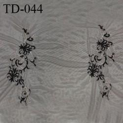 Dentelle brodée sur tulle extensible couleur noir haut de gamme largeur 70 cm prix pour 10 cm de longueur
