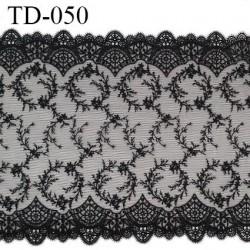 Dentelle 220 mm brodée sur tulle couleur noir haut de gamme largeur 22 cm prix pour 10 cm de longueur