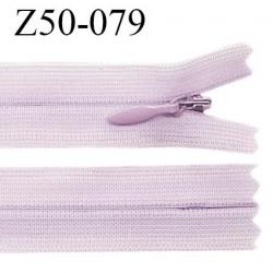 Fermeture zip YKK 50 cm non séparable couleur parme zip glissière nylon invisible prix à l'unité