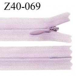 Fermeture zip YKK 40 cm non séparable couleur parme zip glissière nylon invisible prix à l'unité