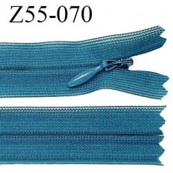 Fermeture zip YKK 55 cm non séparable couleur bleu vert pistache zip glissière nylon invisible prix à l'unité
