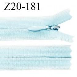 Fermeture zip YKK 20 cm non séparable couleur bleu ciel zip glissière nylon invisible prix à l'unité