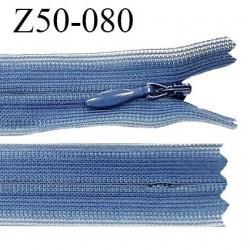 Fermeture zip YKK 50 cm non séparable couleur bleu zip glissière nylon invisible prix à l'unité