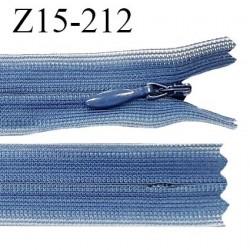 Fermeture zip YKK 15 cm non séparable couleur bleu zip glissière nylon invisible prix à l'unité