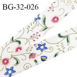 Biais à plier 32 mm galon couleur naturel imprimé motifs fleuris synthétique aspect coton doux au toucher prix au mètre
