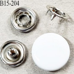 bouton 15 mm pression à griffe métal et pvc blanc et pièces chromé 5 griffes diamètre 15 mm ensemble de 4 pièces par bouton