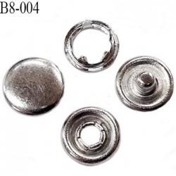 bouton 8 mm pression tête plate à griffe métal chromé  tête bombé 5 griffes diamètre 8 mm ensemble de 4 pièces par bouton