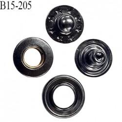 bouton 15 mm pression oeillet en métal couleur acier diamètre 15 mm couleur ensemble de 4 pièces par bouton
