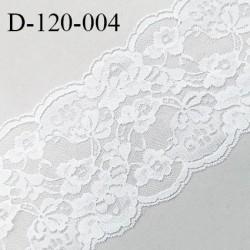 Dentelle 120 mm synthétique non extensible couleur blanc largeur 120 mm prix au mètre