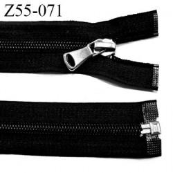 Fermeture zip à glissière longueur 55 cm couleur noir séparable largeur 3.2 cm  curseur métal zip glissière nylon largeur 6 mm