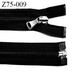 Fermeture zip glissière  longueur 75 cm couleur noir séparable zip nylon largeur 3,2 cm curseur métal largeur de glissière 6 mm