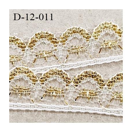 Dentelle 12 mm synthétique couleur blanc et or doré très lumineux largeur 12 mm prix au mètre