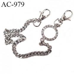 Chaine avec strass 2 fermoirs vrai bijoux en métal chromé maile plate largeur 6 mm longueur 37 cm largeur 9 mm très très belle