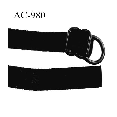 Bretelle lingerie SG 9 mm couleur noir aspect velours très douce 1 barrette + 1 anneau en pvc longueur 45 cm prix à l'unité