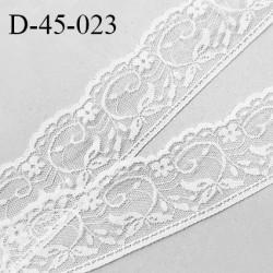 Dentelle 45 mm synthétique non extensible couleur blanc largeur 45 mm prix au mètre