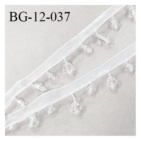 Galon ruban 12 mm synthétique transparent avec perles largeur de la bande 12 mm + 15 mm de perles prix au mètre