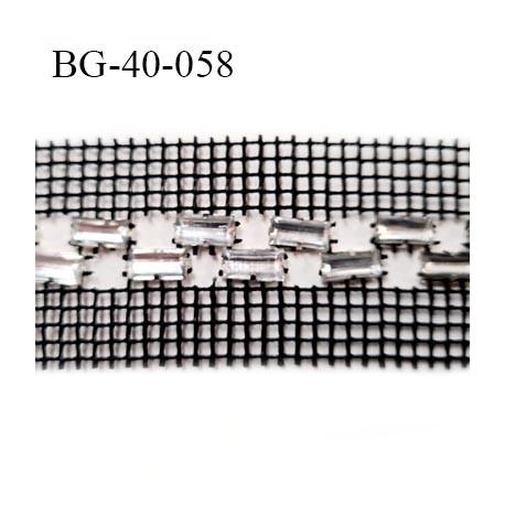 Galon strass 40 mm couleur noir strass style diamant brillant largeur  40 mm longueur strass 10 mm largeur 5 mm  prix au mètre