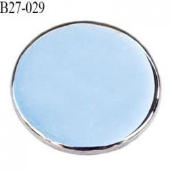 Bouton 27 mm plat épaisseur 2 mm en métal acier chromé brillant accroche avec un anneau au dos diamètre 27 mm prix à la pièce