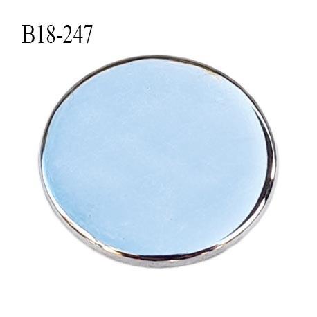 Bouton 18 mm plat épaisseur 1.3 mm en métal acier chromé brillant accroche avec un anneau au dos diamètre 18 mm prix à la pièce