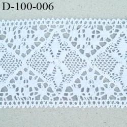 Dentelle 100 mm coton crochet  couleur blanc très belle largeur 10 centimètres prix au mètre