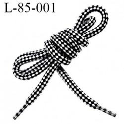 Lacet rond 85 cm noir et blanc synthétique très très solide fabrication Europe diamètre 6 mm longueur 120 cm  prix la paire