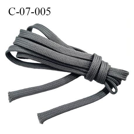 Cordon galon tubulaire 7 mm galon lacet nylon et polyester couleur gris très solide fabriqué Europe largeur 7 mm prix au mètre