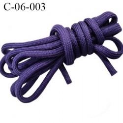 Cordon galon tubulaire 6 mm lacet synthétique couleur violet foncé très solide fabriqué Europe diamètre 6 mm prix au mètre