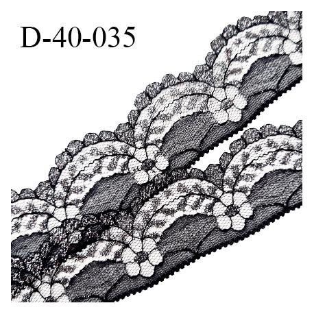 Dentelle 40 mm synthétique non extensible couleur noir et argenté largeur 40 mm prix au mètre