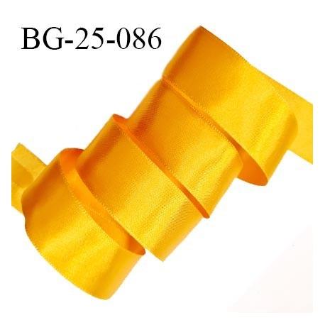 Galon ruban 25 mm effet satin couleur jaune orangé brillant des deux côtés largeur 25 mm prix au mètre