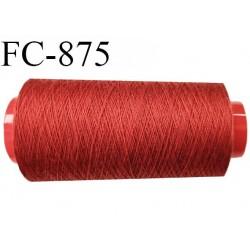 Cone de 2000 m  fil Polyester Coats épic fil n° 30 couleur rouge safrané rouille longueur de 2000 mètres bobiné en France