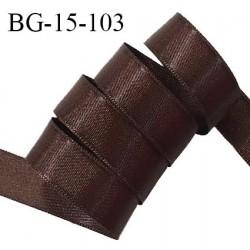 Galon ruban satin 15 mm 100% polyester couleur chocolat brillant largeur 15 mm prix au mètre