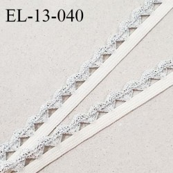 Elastique picot 13 mm élastique souple couleur blanc largeur 6 mm + picot argenté largeur 7 mm prix au mètre