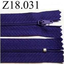 fermeture éclair longueur 18 cm couleur violet foncé non séparable zip nylon largeur 2.5 cm