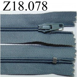 fermeture éclair longueur 18 cm couleur gris bleu  non séparable zip nylon largeur 2.5 cm
