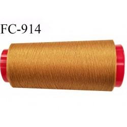 Cone de fil 2000 m mousse polyester n° 160 polyester couleur ocre longueur 2000  mètres bobiné en France