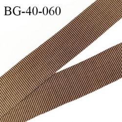 Galon ruban 40 mm gros grain 100% coton couleur marron et beige largeur 40 mm prix au mètre
