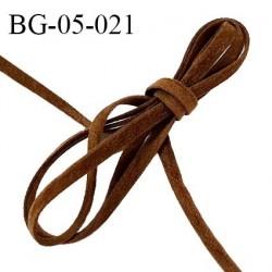 Galon lacette 05 mm ruban à plat façon cuir ou daim couleur marron largeur 05 mm prix au mètre