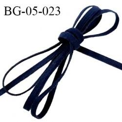 Galon lacette 05 mm ruban à plat façon cuir ou daim couleur bleu marine largeur 05 mm prix au mètre