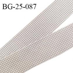 Biais à plier 25 mm galon couleur taupe imprimé pois blancs synthétique aspect coton doux au toucher largeur 25 mm prix au mètre